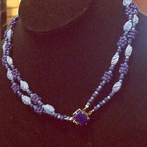 Blue Czech glass double strand necklace